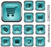 shopping button set | Shutterstock .eps vector #218023705