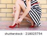 outdoor fashionable girl near...   Shutterstock . vector #218025754