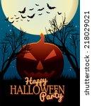 happy halloween party poster | Shutterstock . vector #218029021