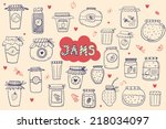 the set of hand drawn jars with ... | Shutterstock .eps vector #218034097