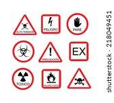 illustration of danger sign ... | Shutterstock .eps vector #218049451
