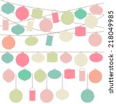 vector set of pastel colored... | Shutterstock .eps vector #218049985