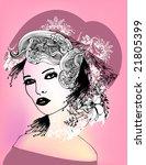 floral girl   Shutterstock .eps vector #21805399