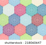 coloured crochet hexagons.... | Shutterstock .eps vector #218060647