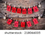 red tags hanging on a line with ... | Shutterstock . vector #218066035