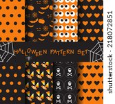 different halloween vector... | Shutterstock .eps vector #218072851
