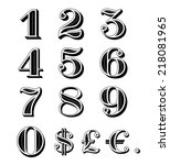 vintage numbers set including... | Shutterstock .eps vector #218081965
