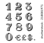 vintage numbers set including... | Shutterstock .eps vector #218081971