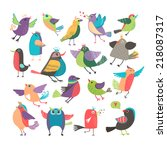 cute cartoon birds set on white ... | Shutterstock . vector #218087317