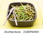 green beans cooked with parsley ... | Shutterstock . vector #218096404