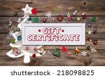 wooden colorful christmas sign... | Shutterstock . vector #218098825