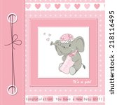 baby girl shower card with cute ... | Shutterstock .eps vector #218116495