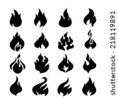 fire flames  set icons. | Shutterstock . vector #218119891
