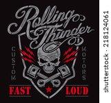 motor skull crest graphic  | Shutterstock .eps vector #218124061