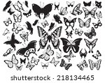 set of butterflies silhouettes... | Shutterstock .eps vector #218134465