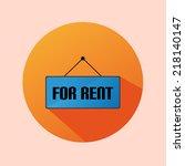 orange circle flat label icon... | Shutterstock .eps vector #218140147