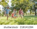 multi generation family... | Shutterstock . vector #218141284