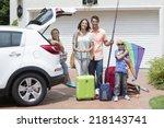 portrait of smiling family... | Shutterstock . vector #218143741