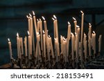 Set Of Burning Candles In The...