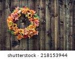 Autumn Flower Wreath Against...
