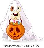 halloween costumed dog holds... | Shutterstock .eps vector #218175127