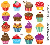 cute cupcakes clip art set | Shutterstock .eps vector #218198449