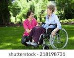 happy senior woman on... | Shutterstock . vector #218198731