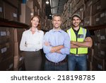 warehouse team smiling at... | Shutterstock . vector #218198785