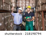 warehouse manager talking with... | Shutterstock . vector #218198794