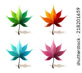vector maple leaf icons | Shutterstock .eps vector #218201659