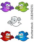 cartoon crazy looking ghosts | Shutterstock .eps vector #218240251