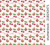 pattern of cherry jam and... | Shutterstock .eps vector #218242471