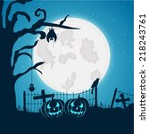scary full moon light night... | Shutterstock .eps vector #218243761