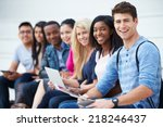 portrait of university students ... | Shutterstock . vector #218246437