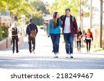 student couple walking outdoors ... | Shutterstock . vector #218249467