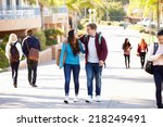 student couple walking outdoors ... | Shutterstock . vector #218249491