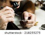 clockmaker repairing wrist... | Shutterstock . vector #218255275