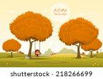 cheerful children play outdoors.... | Shutterstock .eps vector #218266699