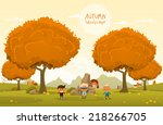 cheerful children play outdoors.... | Shutterstock .eps vector #218266705