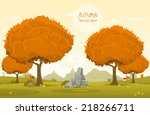 vector illustration of autumn... | Shutterstock .eps vector #218266711