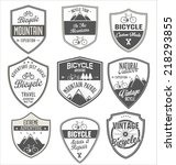 bicycle retro vintage badge... | Shutterstock .eps vector #218293855
