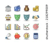 financial   bank icons  flat... | Shutterstock .eps vector #218299009
