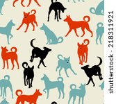 pattern with dogs | Shutterstock .eps vector #218311921