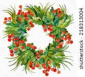 green wreath with leaves and... | Shutterstock . vector #218313004