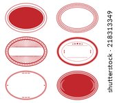 oval stamp set of red color for ... | Shutterstock .eps vector #218313349