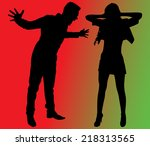 boy yelling at his girlfriend ... | Shutterstock .eps vector #218313565