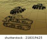 Постер, плакат: battle tank on sand