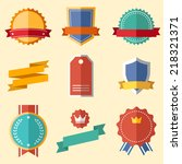 vintage  retro flat badges ... | Shutterstock .eps vector #218321371