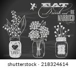 hand drawn wedding invitation... | Shutterstock .eps vector #218324614