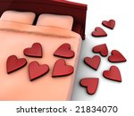 3d illustration of bed with stylized hearts,closeup - stock photo